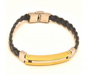 "Sanaa Creations Daily Wear Designer Tri Colour Tone Men""s Twisted Wrist Belt Bracelet-(product Code-1mb58)"