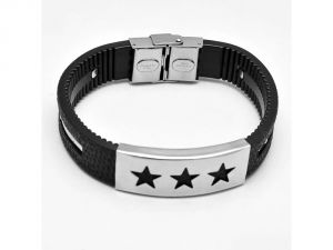 Sanaa Creations Daily Wear Designer Stainless Steel And Black Leather Bracelet For Men With Three Star In Center Buckle-(product Code-1mb69)