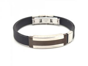 Sanaa Creations Stainless Steel Black Leather Bracelet With Two Tone Buckle In Center For Men-(product Code-1mb70)