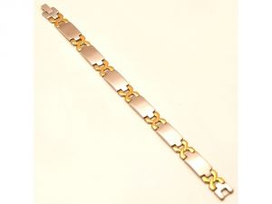 Sanaa Creations Daily Wear Designer Stainless Steel Silver Gold Two Tone Mens Bracelet-(product Code-1mb84)