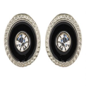 Sanaa Creations Black And Silver Alloy Stud Earrings For Men