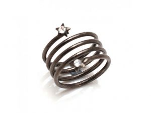 Sanaa Creations Brass Metal Spiral Coil Ring With Two Stars At Both Ends-(product Code-1mr02)