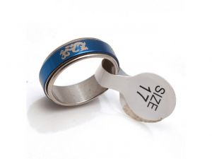 Sanaa Creations Blue Silver Stainless Steel Unisex Ring-(product Code-1mr06)