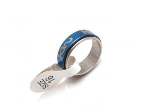 Sanaa Creations Blue Silver Stainless Steel Scroll Design Ring-(product Code-1mr09)