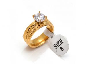 Sanaa Creations Designer Gold Plated Ring With Single Big Stone In Center-(size-11)-(product Code-1mr12)