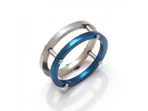 Sanaa Creations Stainless Steel Unisex Two Band Silver & Blue Ring-(product Code-1mr14)