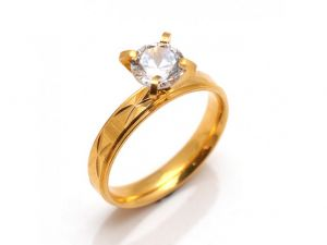 Sanaa Creations Exclusive Gold Plated Ring With Single Stone In Center For All Occasion-(size-18)-(product Code-1mr19)