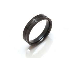 Sanaa Creations Black Stainless Steel Unisex Band Ring-(product Code-1mr31)