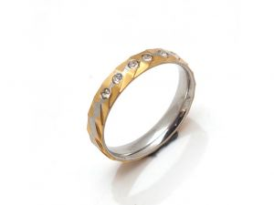 Sanaa Creations Designer 2tone Stainless Steel & Gold Plated Band Ring Studded W/cz In Center-(product Code-1mr42)