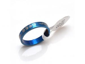 Sanaa Creations Blue W/buddhist Scriptures Mantra Of Great Stainless Steel Symbol Letter Ri-(product Code-1mr46)