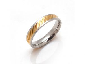 Sanaa Creations Unisex Gold Plated Stainless Steel Diagonal Line Design Band Ring-(product Code-1mr52)