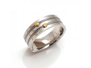 Sanaa Creations Stainless Steel Band Ring Two Tone Steel Cables Ring With Gold Plated Nail-(product Code-1mr53)
