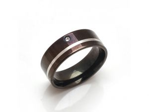 Sanaa Creations Classic Stainless Steel Black Band Ring With Cz & White Stip-(product Code-1mr58)