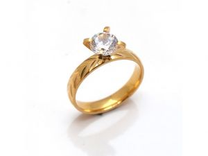 Sanaa Creations A Classic New Gold Plated Ring With Big Cz Stone & Embeded With Leaf Pattern-(product Code-1mr63)