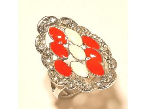 Sanaa Creations Stunning White Flower With Cz Multi Color Ring Silver Plated-(product Code-1rn129)