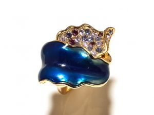 Sanaa Creations Sea Blue Enameling Layered With Cz Gold Plated Ring-(product Code-1rn157)