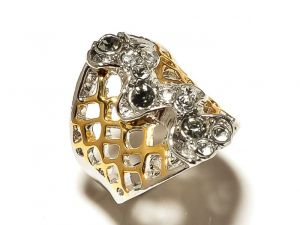 Sanaa Creations Fancy Nested 2 Tone Designer Ring Centered With Cz-(product Code-1rn160)