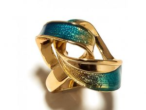 Sanaa Creations Twisted Sea Blue Stylish Gold Plated Ring For Parties-(product Code-1rn163)