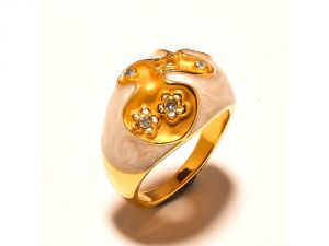Sanaa Creations Light Brown Enameling Ring With Cz Flower On Top Gold Plated For Parties -(product Code-1rn167)