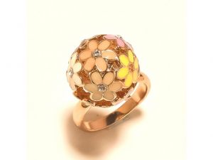 Sanaa Creations Multicolor Flower Enamelling With Cz Round Top Gold Plated Ring-(product Code-1rn176)