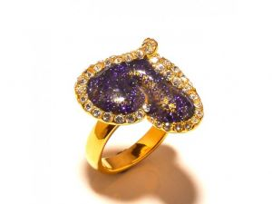 Sanaa Creations Gold Plated Heavy Crafted Cz Heart Shape Purple Color Ring For Parties-(product Code-1rn199)