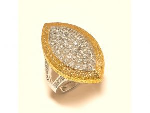 Sanaa Creations Gold Plated Pears Shape Cz Studded Fancy Ring For Parties-(product Code-1rn207)