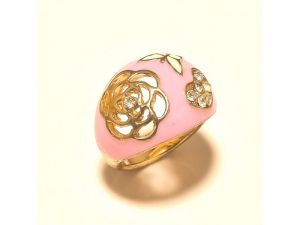 Sanaa Creations Gold Plated Flower Design Ring Pink Enamelling With Cz-(product Code-1rn210)