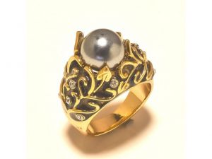 Sanaa Creations Gold Plated Exclusive Ladies Ring Studded With Cz Black Enamelling And Pearl-(product Code-1rn214)