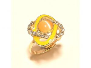 Sanaa Creations Twisted Pearl Gold Plated Cz Ring With Yellow Enamelling For Parties-(product Code-1rn219)
