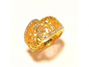 Sanaa Creations Exclusive Gold Plated Designer Ring With Cz For Both Men & Women-(product Code-1rn224)