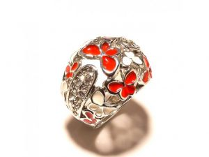 Sanaa Creations Designer White & Red Flower Enamelling Cz Studded Silver Plated Ring-(product Code-1rn226)