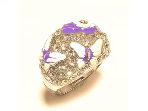 Sanaa Creations Designer Silver Plated Ring With White & Pruple Flower Enamelling Cz Studded-(product Code-1rn227)