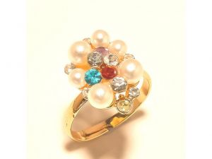 Sanaa Creations Gold Plated Multicolor Ring With Pearl For Ladies-(product Code-1rn229)