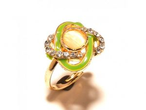 Sanaa Creations Twisted Pearl Gold Plated Cz Ring With Green Enamelling For Parties-(product Code-1rn231)
