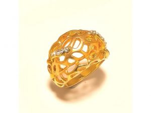 Sanaa Creations Trendy Gold Plated Cz Studded Ring Exclusively For Ladies-(product Code-1rn234)