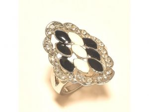 Sanaa Creations Stunning White -black Flower With Cz Multi Color Ring Silver Plated-(product Code-1rn241)