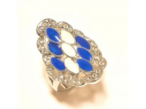 Sanaa Creations Stunning Blue -black Flower With Cz Multi Color Ring Silver Plated-(product Code-1rn245)