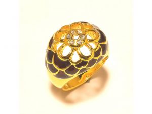 Sanaa Creations Gold Plated Flower Shape Ring With Brown Enamelling &cz In Center-(product Code-1rn248)