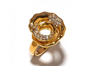 Sanaa Creations Elegant Cz Studded Gold Plated Crafted Designs Ring-(product Code-1rn270)