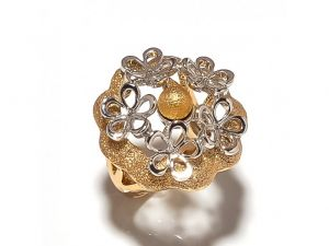 Sanaa Creations Crafted Cz Studded Flower Shape Gold Plated Ring-(product Code-1rn273)