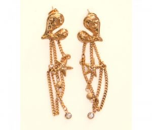Sanaa Creations Stylish Gold Plated Heart Shape Hanging Earring With Cz-(product Code-1ern122)