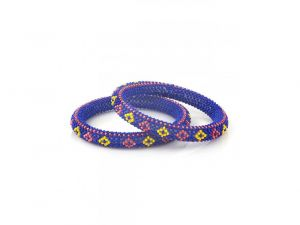 Sanaa Creations Handcrafted Blue Red Yellow Beaded Bangles-(product Code-snjai20826)