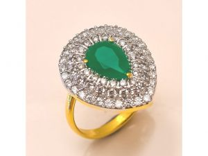 Sanaa Creations Gold Polished Cz Studded With Color Stone Handmade Pears Shape Ring For Al-(product Code-4rn-ms05)