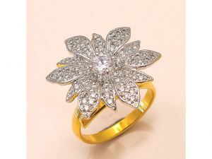 Sanaa Creations Gold Polished Cz Studded With Flower Shape Handmade Ring For All Occasi-(product Code-4rn-ms06)