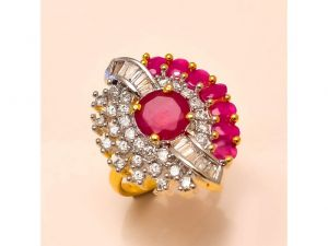 Sanaa Creations Gold Plated Multicolor Ring With Cz And Green Stone-(product Code-4rn-ms11)