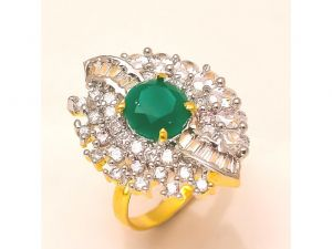 Sanaa Creations Nested With Cz Sparkleing 2 Tone Designer Exclusive Ladies Ring-(product Code-4rn-ms21)