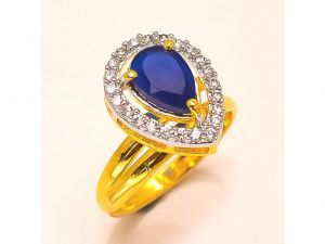 Sanaa Creations Gold Polished Jewellery Ad Rings With Color Stone-(product Code-4rn-ms29)