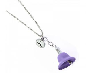 Sanaa Creations Hot New Purple Color Bell With Mustache Tag Shape Keychain/pendant-(product Code-1kp68)