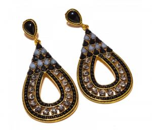 Sanaa Creations Multi Color Stones Drop Shape Gold Plated Earring-(product Code-1ern17)