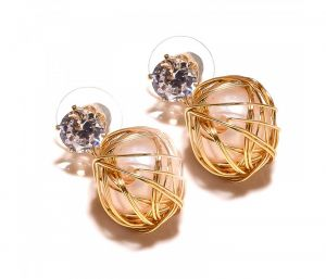 Sanaa Creations Nested Pearl Ball Gold Plated Designer Earring-(product Code-1ern37)